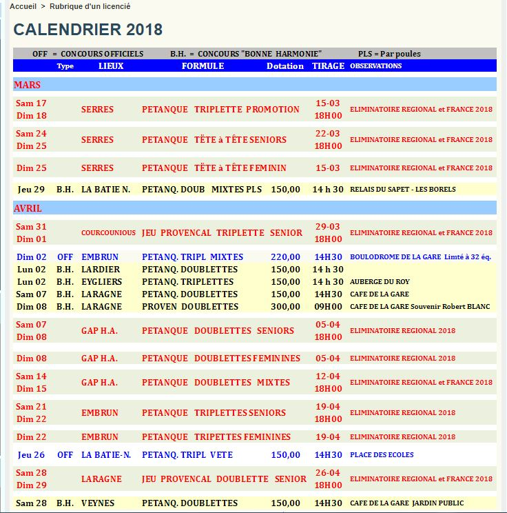 Calendrier competitions 2018