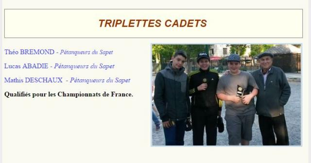 Triplettes cadets france 2017
